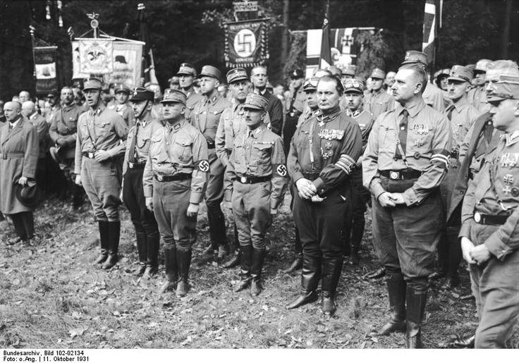 Heinrich Himmler, Ernst Röhm, Hermann Göring, and Bernhard Rust at the establishment of the Nazi Harzburger Front organization in the namesake town in Germany, 11 Oct 1931.