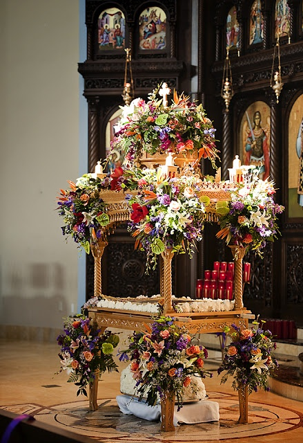 Epitafios Photography by Irina. What a beautifully decorated Kouvouklion! For Good Friday services, replica of tomb