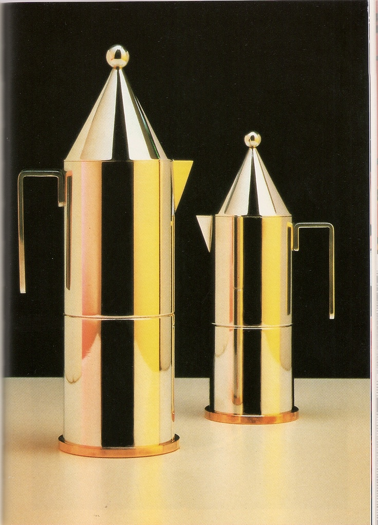La Conica Coffee Pots by Aldo Rossi, 1984     Aircraft Carrier Coffee Set by Hans Hollein for Alessi, 1983