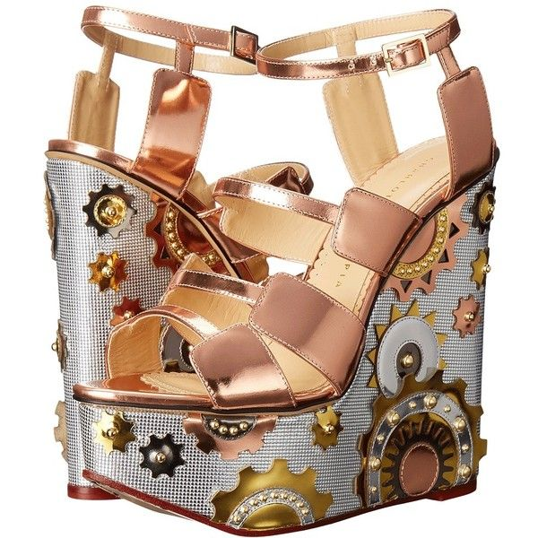 Charlotte Olympia Mechanical Merylin (Copper/Silver/Gold Metallic... (19.770 ARS) ❤ liked on Polyvore featuring shoes, sandals, silver ankle strap sandals, embellished wedge sandals, wedge sandals, slip on sandals and open toe sandals