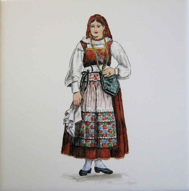 Viana peasant woman's costume, apron and bag