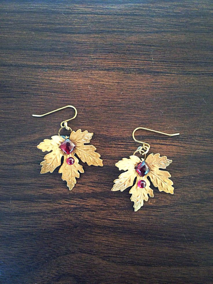 """Mapleblood"" brass and garnet earrings by InspiredCPH"