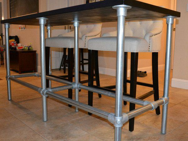 DIY Counter Height Table with Pipe Legs