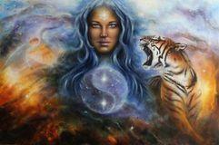 Pittura A Olio Bella Su Tela Di Una Donna Mistica In Vestito Storico Con Una Tigre Vigorosa Dal Suo Lato Illustrazione di Stock - Immagine: 47632801