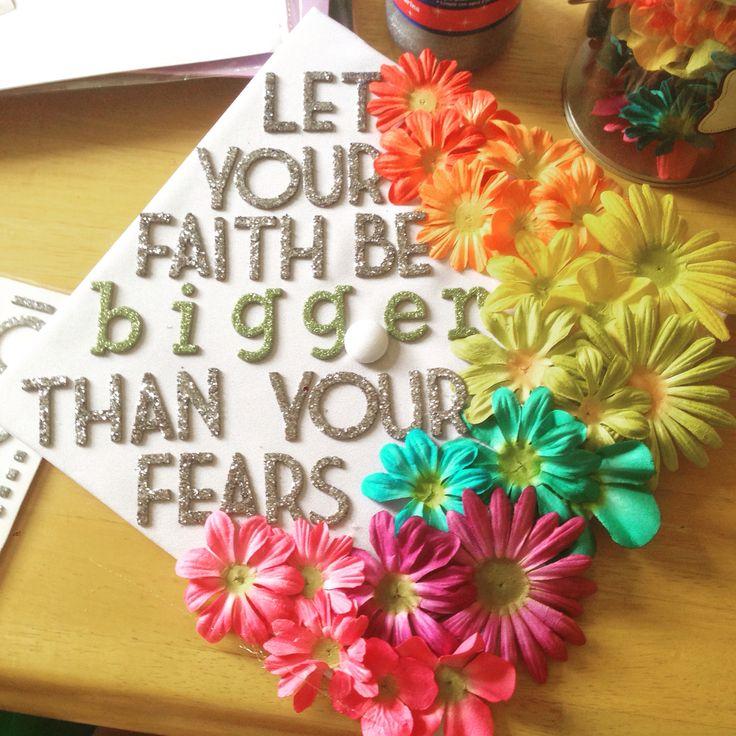Graduation cap! Dark silver glitter with multicolor flowers and silver gems #graduation #GradCap #DIY