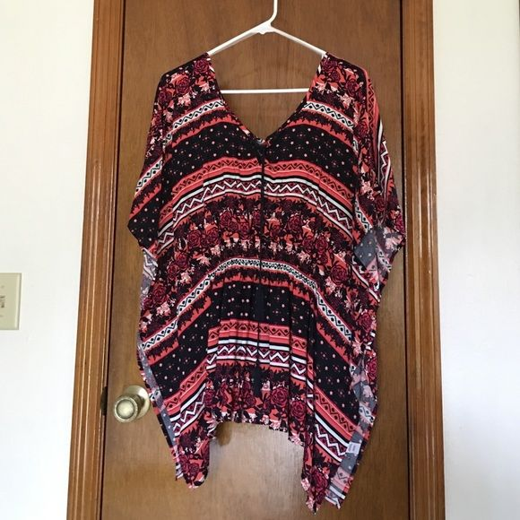 Cato batwing top Navy blue, coral, magenta and white Aztec print top. Large new never worn. Cato Tops Blouses