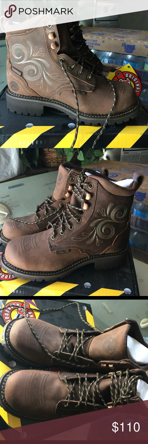 Justin work boots. These are steel toe shoes for work/hiking/tracking or rough handling. Not suited for electric work.  Very very durable. Comes with original box. NWT Justin Boots Shoes Combat & Moto Boots