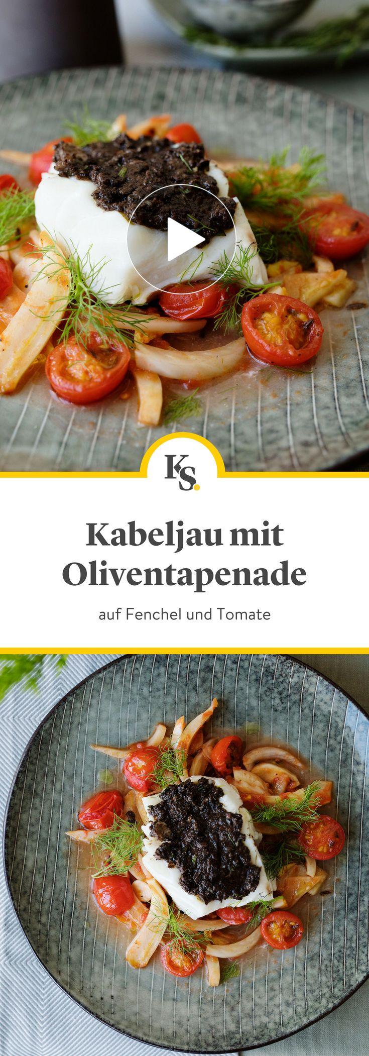 Kabeljau mit Oliventapenade auf Fenchel und Tomate