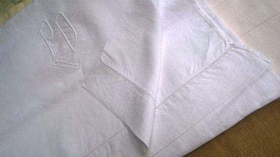 Victorian Linen Flat Sheet French White Fil by SophieLadyDeParis