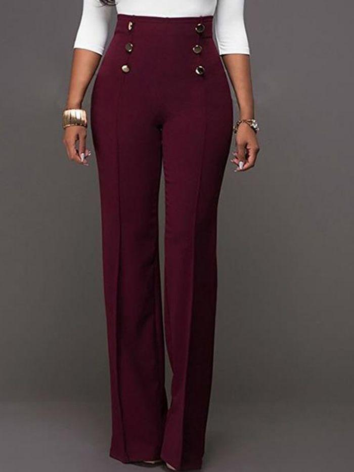 Ericdress High-Waist Button Bellbottoms Pants