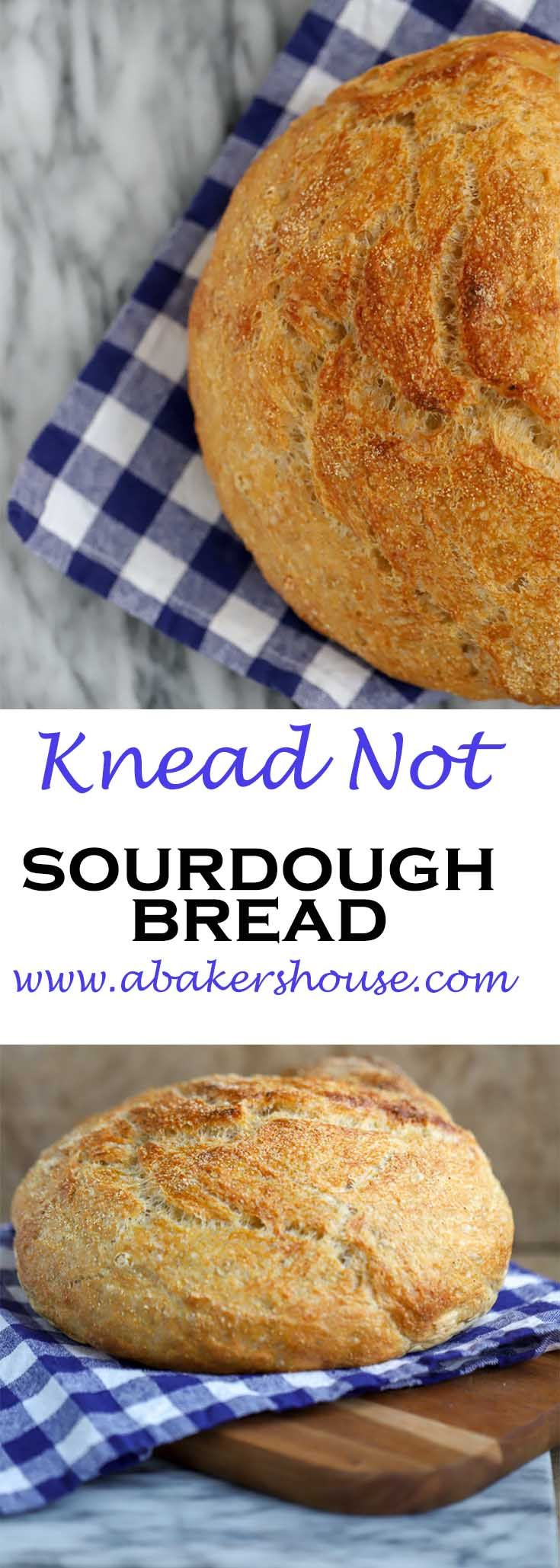 No fussing with kneading here with this Alton Brown recipe for Knead Not Sourdough Bread. Made by Holly Baker at www.abakershouse.com