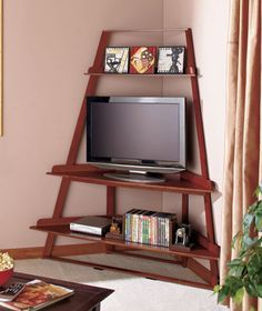 Furniture, Cool Picture Nice Designs Looks So Unique Brown Color Wall Picture Good Small Tv Small Shaped Picture Storage Nice Some Books There: Make Your Hobby Of Watching TV More Amazing With The Good Of Cheap TV Stand Ideas