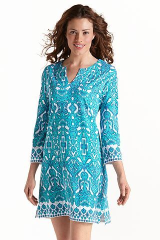 ZnO Oceanside Tunic Dress - Moroccan Blue: Sun Protective Clothing - Coolibar