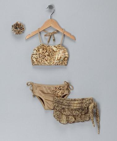 Take a look at this Gold Animal-Print Bikini Set - Toddler by Gabbita on #zulily today!
