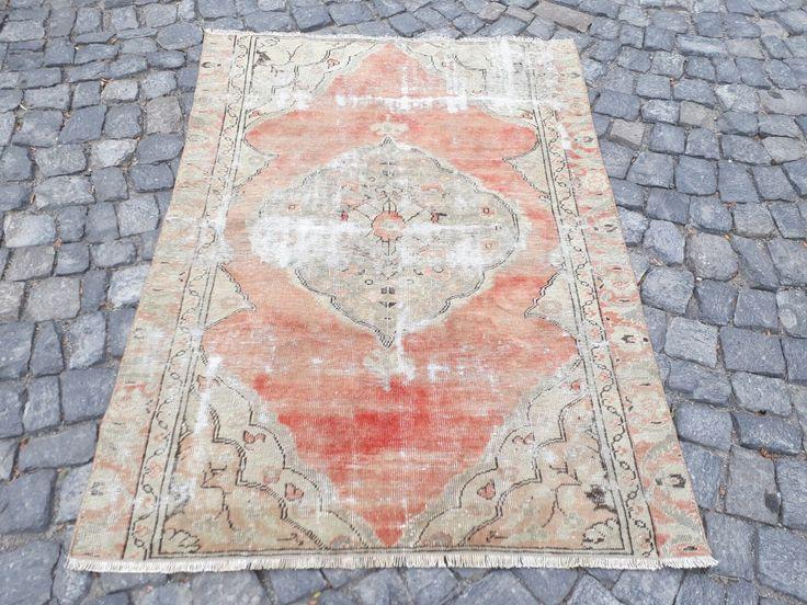 "290$ FADED TURKISH OUSHAK RUG, 59 "" x 40 "" (150 x 103 cm)"