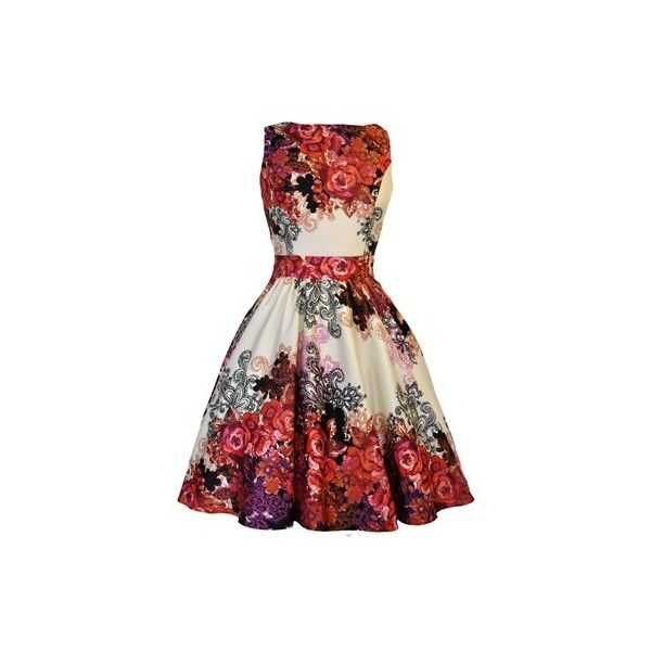 Red Rose Floral Collage on Cream Tea Dress (245 BRL) ❤ liked on Polyvore featuring dresses, red, vestidos, floral dresses, red floral dress, red tea dress, rose dress and flower print dress