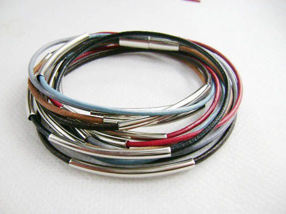 womens silver tube wrap magnetic leather bracelet s83 by Showrist, $15.00