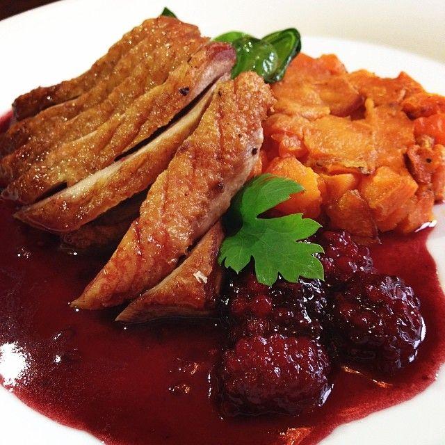 Kačacie prsia na malinách s batatami a mladým špenátom / Duck breats on a raspberry sauce with batatas and spinach  Best Bratislava (Slovakia) Restaurants