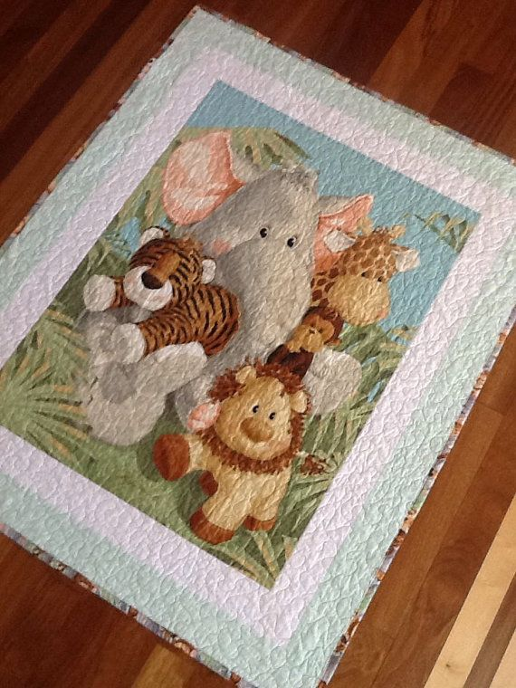Large Jungle baby animals quilt.  38 x 47 unisex by sewingbyjanina