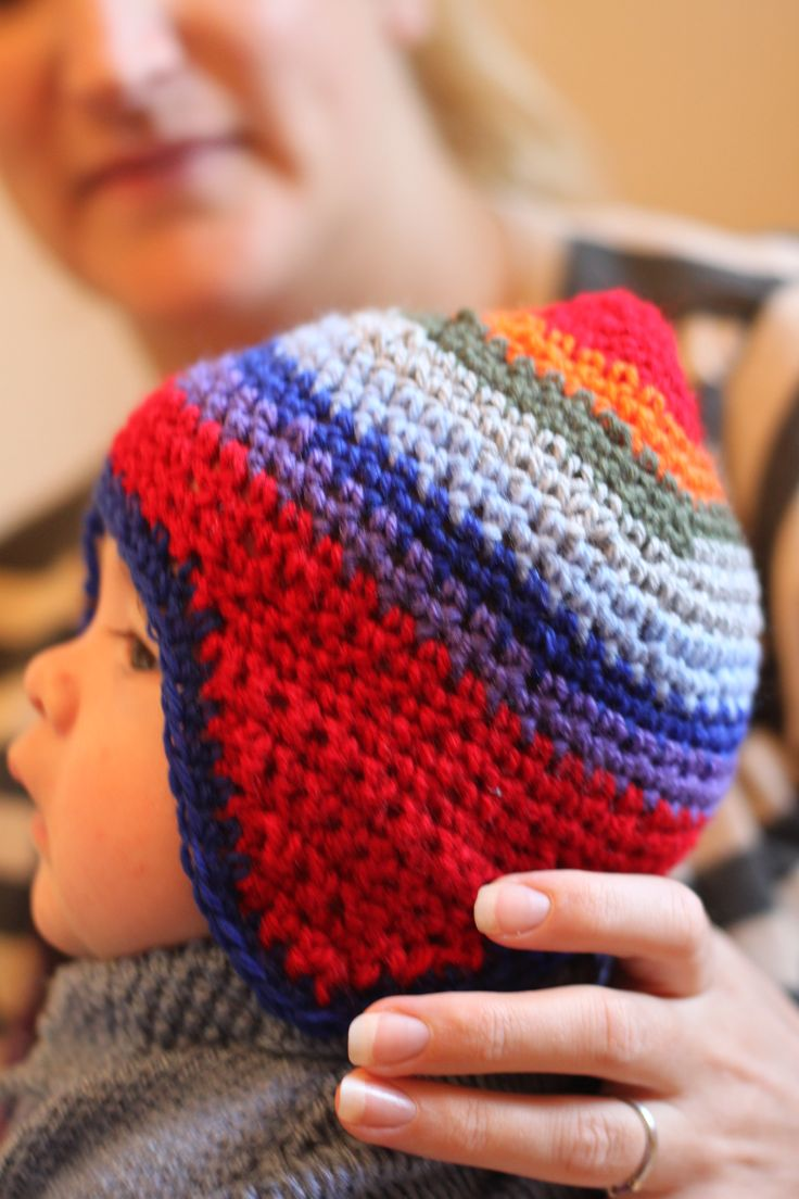 Quick and Easy Crochet Baby Hippy Hat modelled by Iolo!