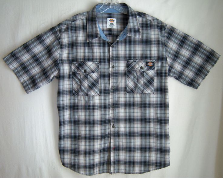 Men 39 s dickies 2xl shirt black gray white plaid short for Dickies short sleeve plaid shirt