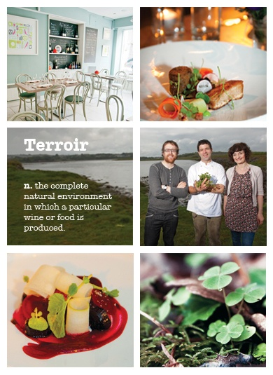 """Aniar Restaurant, Galway.  """"The food is based on our terroir, the ensemble of natural influences that give a food a sense of place...  We will quite simply obey the seasons and let nature decide our menu""""."""