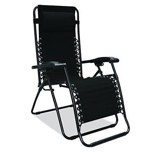 Black Zero Gravity Lounge Chair Garden Folding Chairs Patio Furniture Outdoor #BlackZeroGravityLoungeChair