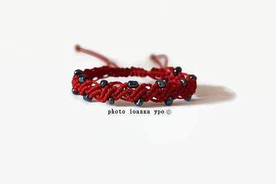 delicate macrame bracelet with hematite beads handcrafted   #stekiapantou #ioannaypo #thessaloniki #syros #macramejewelry #macramejewellery #macramebracelet #macrameart #macramedesign #greekdesigner #jewelryartist #jewelryaccessories #egst #etsyunique #etsybracelet #etsybestsellers #etsyjewelryshop #etsyjewelryshopowner #etsyjewelry#etsyhandmade #etsygiftideas #redbracelet #hematitebeads