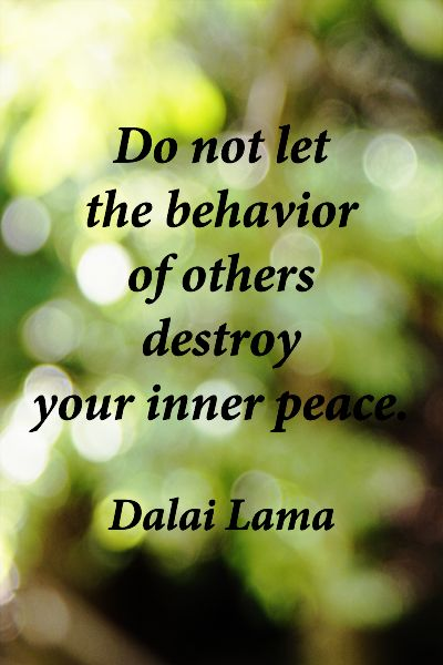 """Do not let the behavior of others destroy your inner peace."" – Dalai Lama -- ""We all live downstream."" –"