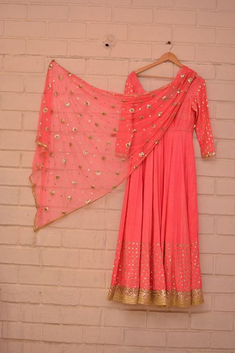 Neon pink anarkali! <3 Found at Abhinav Mishra's Shahpur Jat store | thedelhibride Indian weddings blog