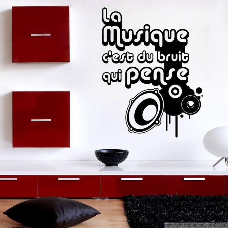 Exceptionnel Ambiance Wall Stickers #4: Stickers Muraux Citations - Sticker Style Moderne - La Musique Cu0027est.
