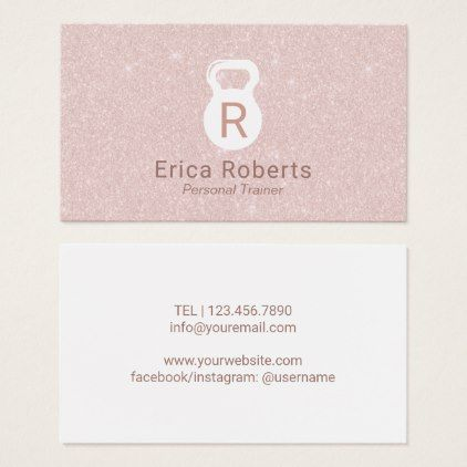 Fitness personal trainer blush rose gold glitter business card fitness personal trainer blush rose gold glitter business card gold gifts golden customize diy reheart Image collections
