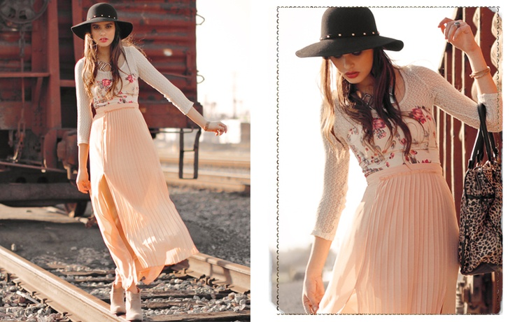 Spring layering with maxi skirt. From http://www.threadsence.com/shop-moodboard-right-tracks-c-380_526.html