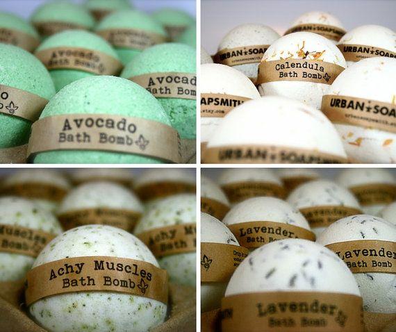 Bath Bomb Set 4 Achy Muscle Avocado Calendula & Lavender