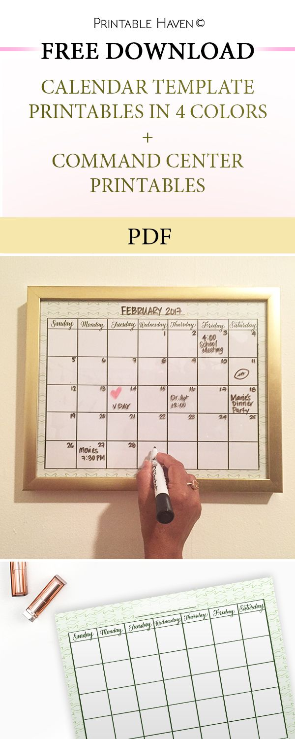 Free blank calendar template + Command center printables. DIY wipeable calendar template.