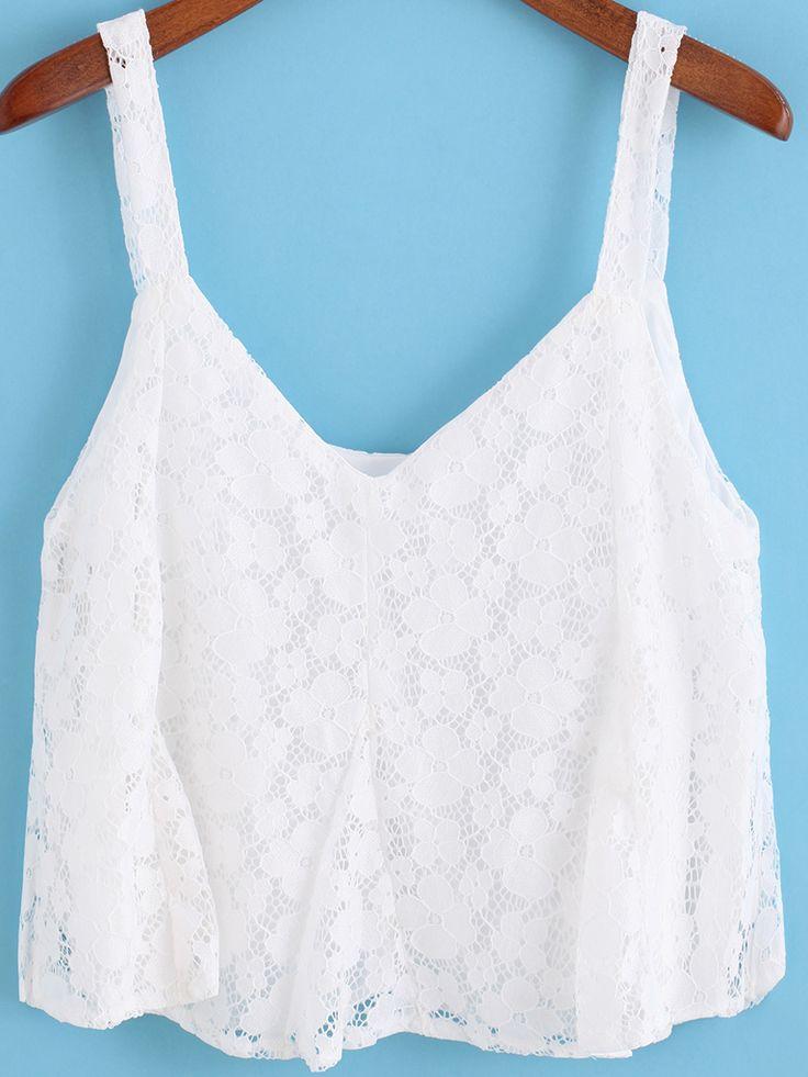 #White #Spaghetti #Strap #Lace #Cami #Top