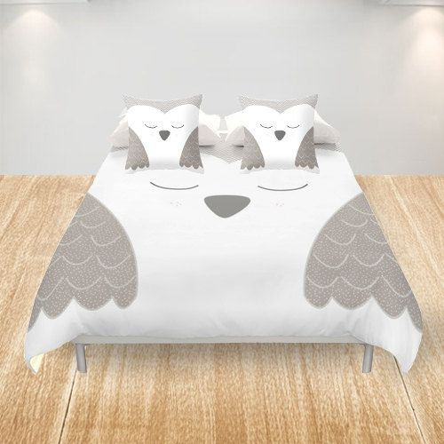 Owl Duvet Cover King Queen Double Full Cover White by Narais