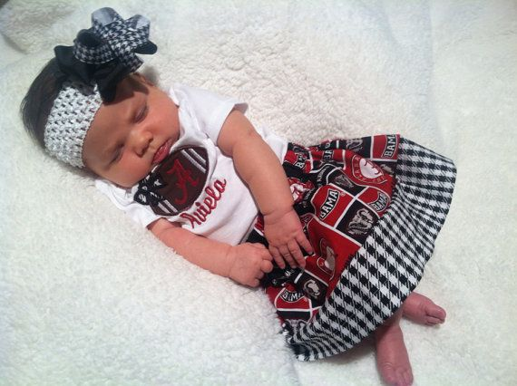 Alabama Football Onesie with Matching Hairbow and Twirl Skirt...Great Gift Idea on Etsy, $35.00
