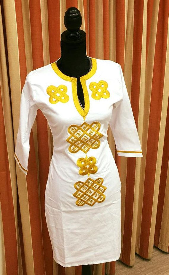 White Dress Gold embroidery by BournLoondonLtd on Etsy