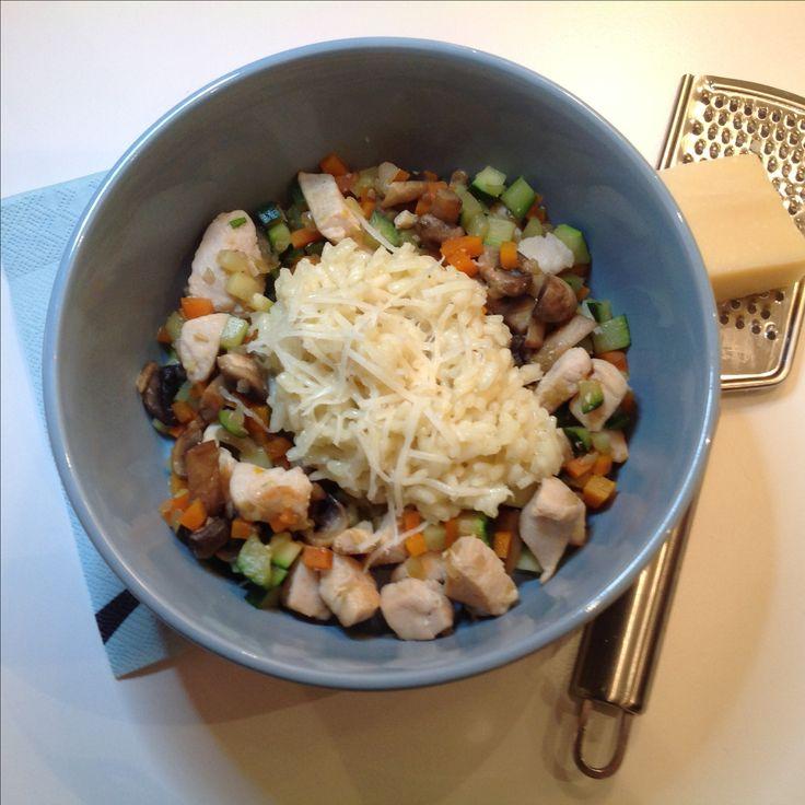 Risotto med kylling, squash, champignon
