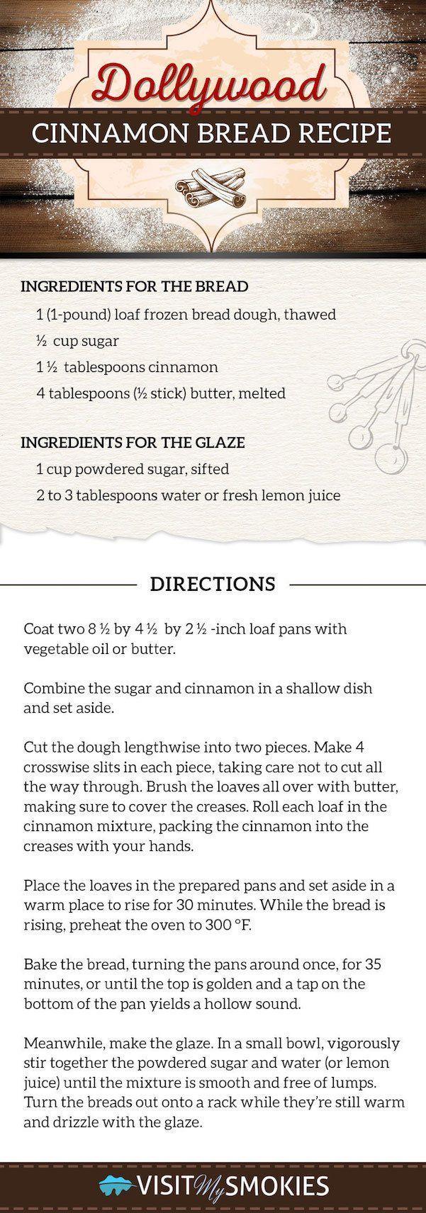 Dollywood Cinnamon Bread Recipe.