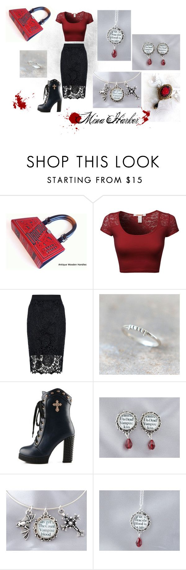 """""""Mina Harker"""" Gothic #Style inspired by the classic #Vampire novel, #Dracula by #BramStoker. Perfect for #Halloween, #Goths, and well-read #Vampires. Set created by kerry-gauthier on Polyvore featuring Quiz"""