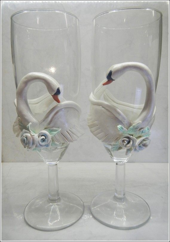 Swan wedding glasses, polymer clay by MuddCraft
