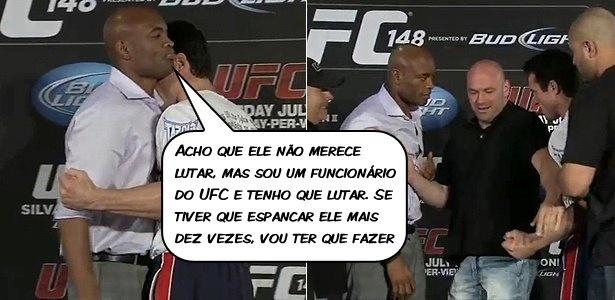 """""""Acho que ele não merece lutar, mas sou um funcionário do UFC e tenho que lutar. Se tiver que espancar ele mais dez vezes, vou ter que fazer"""", Anderson Silva"""