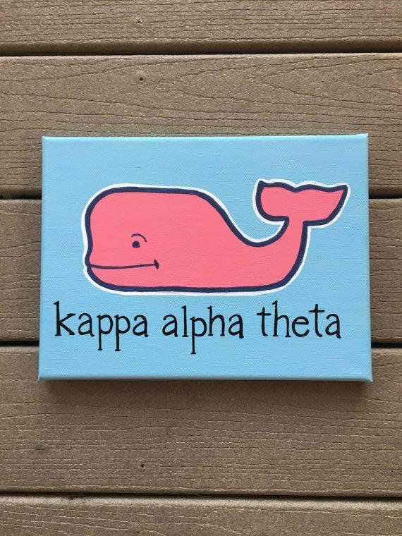 Custom Sorority/Fraternity Vineyard Vines Whale Canvas Painting/ Big Little Sorority Gift/ Kappa Alpha Theta