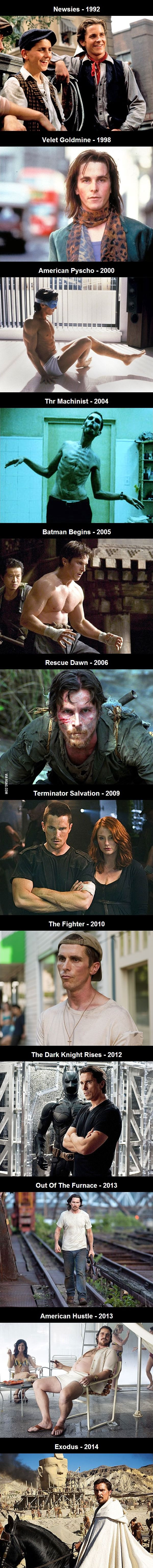 Christian Bale's body transformations throughout the years.