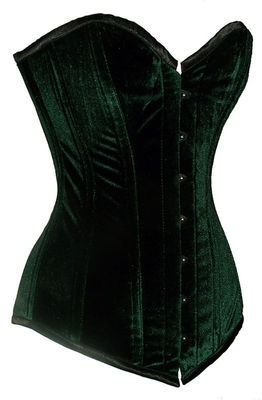 Lady Loki -  Sturdy Steel Boned Extra Long Green Velvet Overbust Corset Tight Lacing EB-9051 | eBay  $49.99