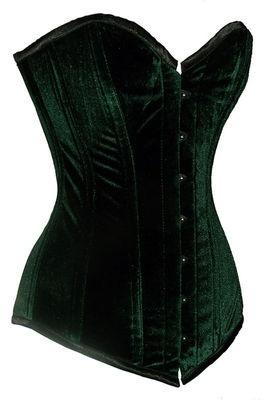 Lady Loki -  Sturdy Steel Boned Extra Long Green Velvet Overbust Corset Tight Lacing EB-9051 | eBay  $49.99