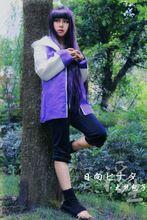 Free Shipping Naruto Hinata Hyuga Ninja Uniform Anime Cosplay Costume(China)