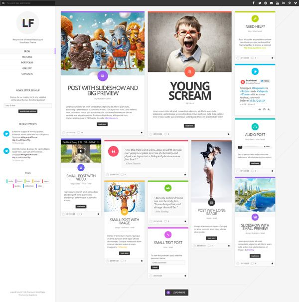 LiquidFolio - Portfolio Premium WordPress Theme by Queldorei , via Behance